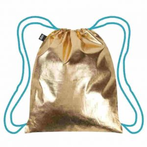 loqi backpack metallic gold
