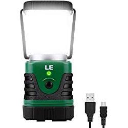 LE LED Campinglampe Tragbar, Superhell wiederaufladbare Suchscheinwerfer mit Bügel & Haken, 4 Helligkeiten Dimmbar