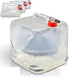 4 Wasserkanister 10l | Faltbar | mit praktischem Ausgießhahn und Tragegriff